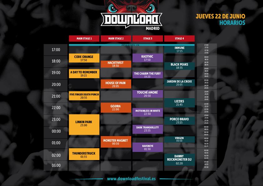 Aqu los horarios del download festival madrid for La caja sucursales horarios